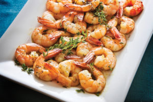 Square Dish with Broiled Isle Shrimps