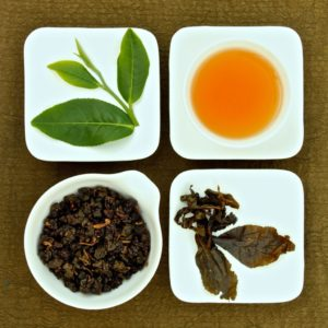 Chinese oolong tea with leaves